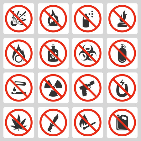 Signs of prohibited luggage items in airport, vector icon set
