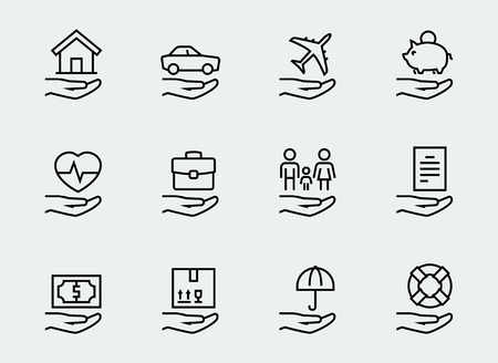 Relacionados con el seguro conjunto de iconos de estilo de línea delgada Foto de archivo - 49648197