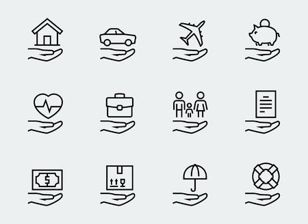 apoyo familiar: relacionados con el seguro conjunto de iconos de estilo de línea delgada