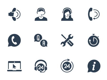 Opieka i telemarketing zestaw ikon wektorowych Ilustracje wektorowe