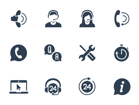 call center office: Support service and telemarketing vector icon set