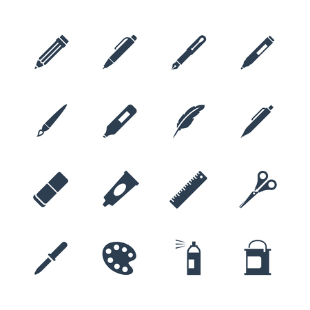 tools icon: Drawing and writing tools icon set Illustration