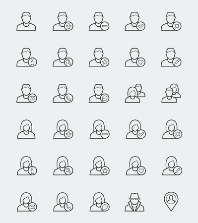 anonym: User icons for web and apps in outline style Illustration