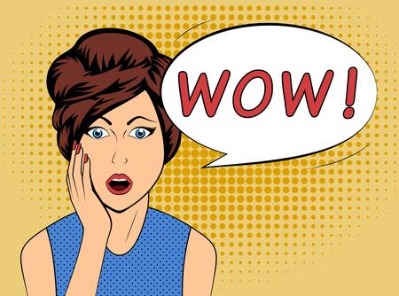 wow: Mujer sorprendida con la burbuja del discurso WOW en el estilo de los c�mics de edad