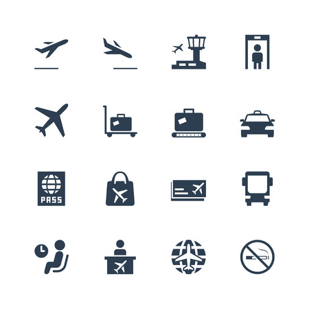 leaving: Airport related vector icon set