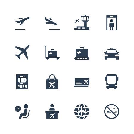 Lotnisko związanych zestaw ikon wektorowych