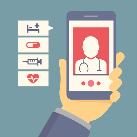 consulting: Vector flat concept of hand holding mobile phone with medical assistance, doctor consultation and featuring medical icons Illustration