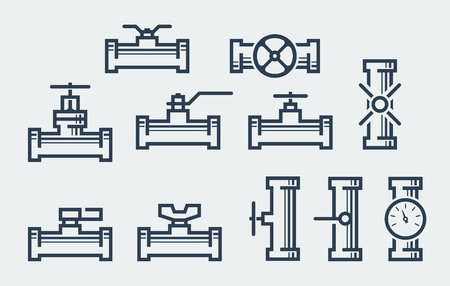 gas meter: Valves and taps vector icon set