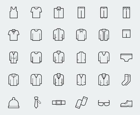 ropa interior: Iconos de la ropa de los hombres en el estilo de línea delgada Vectores