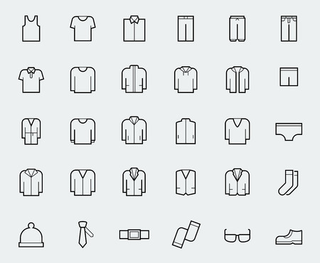 Mens clothing icons in thin line style