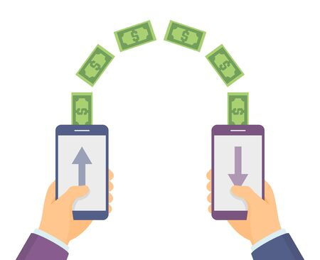 receiving: Hands holding smart phones which sending and receiving money wireless, flat design illustration