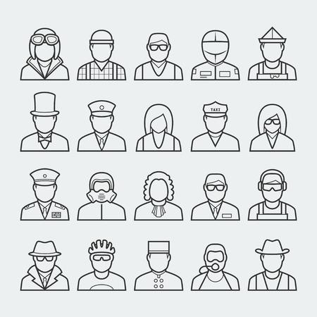 piloto: Personas profesiones y ocupaciones conjunto de iconos de estilo de línea delgada # 3 Vectores