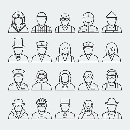 People professions and occupations icon set in thin line style #3 Illustration