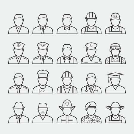 uniform: Gente profesiones y ocupaciones conjunto de iconos en la línea delgada estilo # 1 Vectores