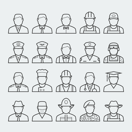occupations: People professions and occupations icon set in thin line style #1