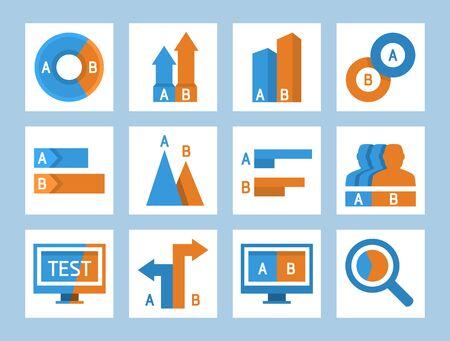 AB split testing and comparison icon set