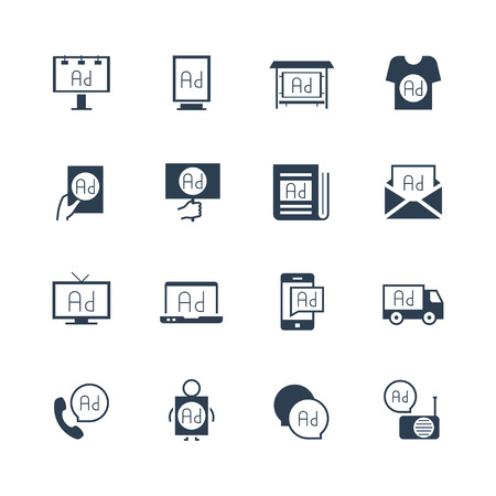 billboard advertising: Advertisements and promotion vector icon set