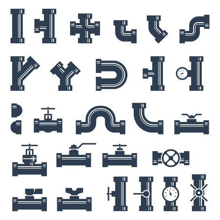 fittings: Set of pipes, fittings and valves