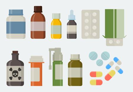 droga: La medicina y las drogas en el conjunto de iconos de estilo plano Vectores