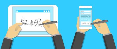 contratos: concepto de firma digital, firma en el PC tableta y el smartphone