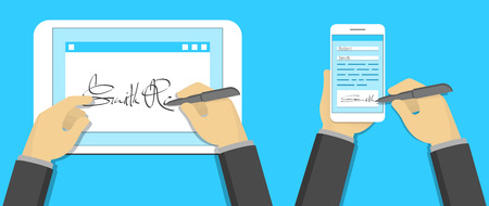 Digitale handtekening concept, de ondertekening op tablet-pc en smartphone Stock Illustratie