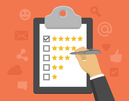 survey: Vector customer feedback concept in flat style - clipboard and hand checking five stars mark on it