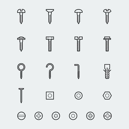 nut bolt: Screws, bolts and nuts icon set in linear style