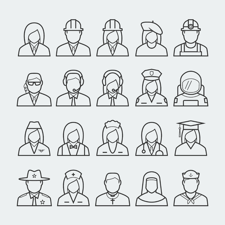 occupations: People professions and occupations icon set in thin line style #2