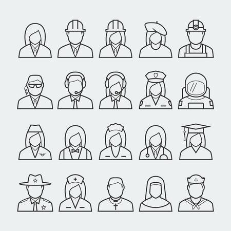 marinero: Personas profesiones y ocupaciones conjunto de iconos de estilo de línea delgada # 2