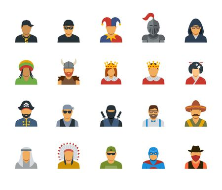 rasta: Vector set of different characters avatars