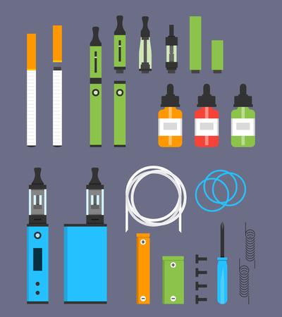 Vaping colored flat design set Illustration