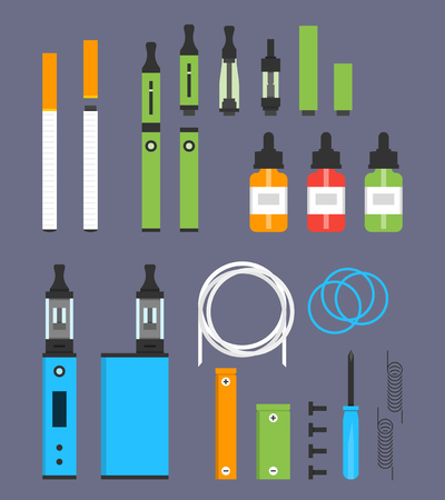Vaping colored flat design set Иллюстрация