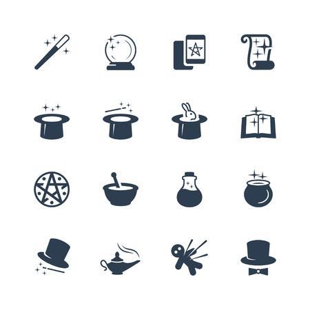 lampara magica: Conjunto de iconos relacionados con la magia