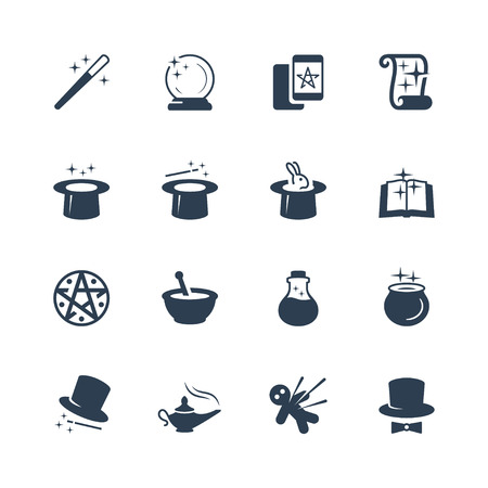 Set of magic related vector icons Çizim