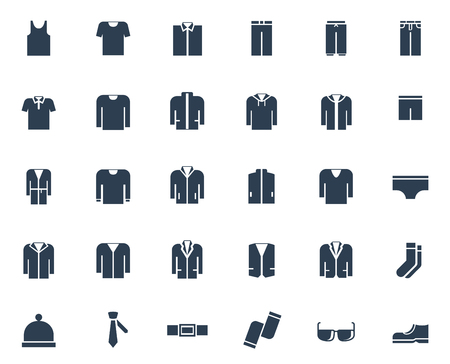 outer clothing: Mens clothing vector icon set Illustration