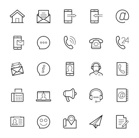 conjunto: Póngase en contacto con nosotros icono conjunto de vectores en el estilo de línea fina en el fondo blanco Vectores