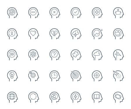 personality development: Psychology, brain activity and head related concepts thin line icon set Illustration