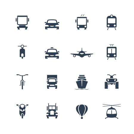 Transportation icon set, front view 일러스트
