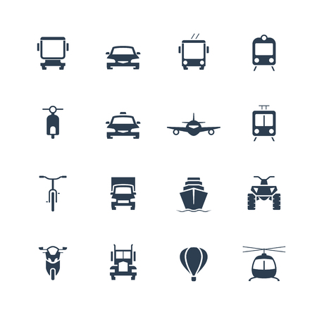 Transportation icon set, front view Illustration