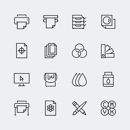 Printing vector icon set in thin line style Stock Illustratie