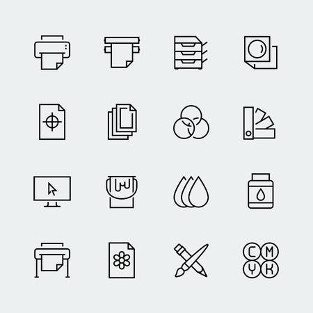 impresión: icono del vector de la impresión fija en el estilo de línea delgada