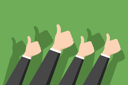 Thumbs-up on green background in flat design style. Positive feedback concept Vectores