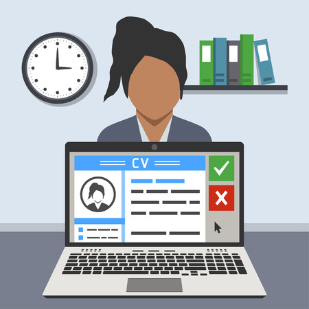 woman behind: Job interview concept: curriculum vitae on screen of a laptop and a woman behind it