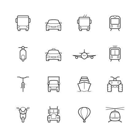 Transportation icons dans le style de la ligne mince, vue de face Vecteurs
