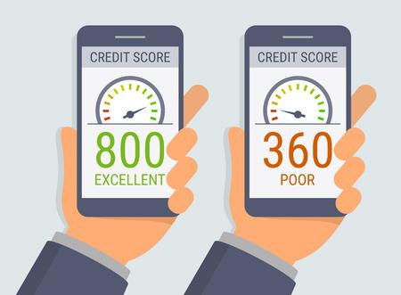 informe: Manos del vector que sostienen los teléfonos inteligentes con aplicación de calificación de crédito en la pantalla plana en el estilo