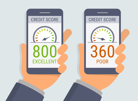Vector hands holding smartphones with credit score app on the screen in flat style Çizim