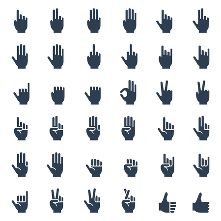 Gestos con las manos humanas, señales y signos, icono lenguaje corporal conjunto