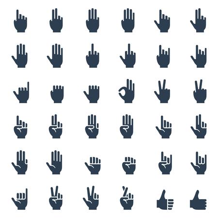 dedo indice: Gestos con las manos humanas, señales y signos, icono lenguaje corporal conjunto