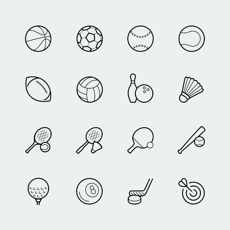 sports icon: Sports icon set in thin line style