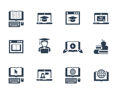 taught: Online education vector icon set Illustration
